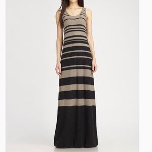 Vince Black and Tan Striped Maxi Dress Size Large
